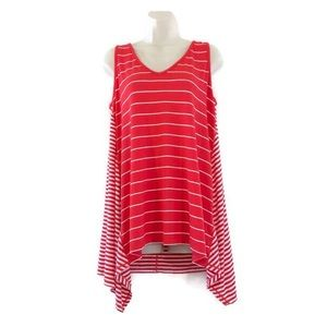 Max Studio Weekend Asymmetrical Hem Striped Top